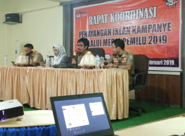 KPU Bantaeng gelar Rakor terkait Penayangan Iklan Kampanye melalui Media Pemilu 2019 (26/02/2019).