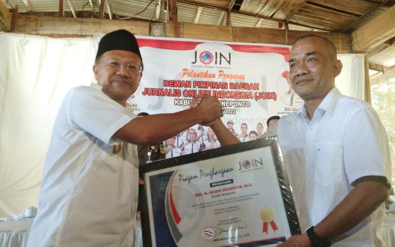 Pelantikan Pengurus DPD JOIN Kabupaten Jeneponto di Hotel Bintang Karaeng (27/02/2019).