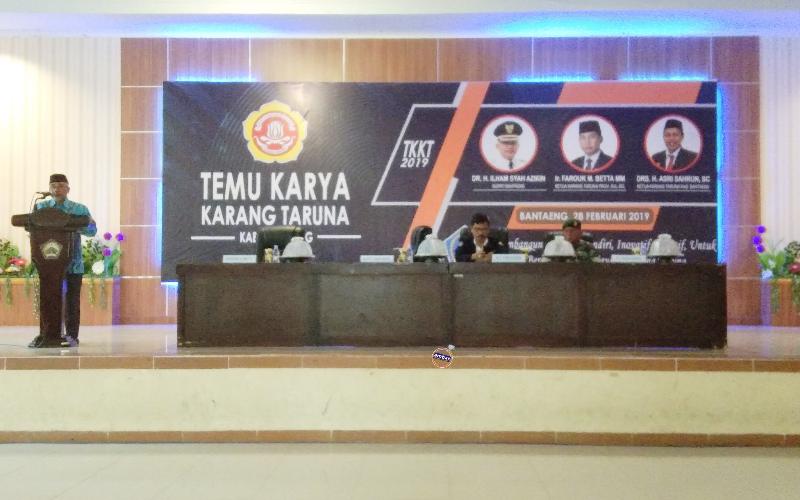 Wabup Bantaeng membuka Temu Karya Karang Taruna 2019 Kabupaten Bantaeng (28/02/2019).