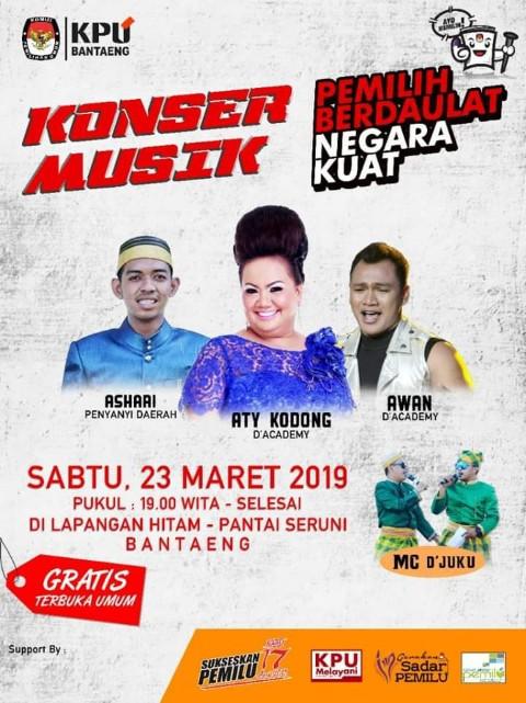 Tiga artist bakal menghibur masyarakat Bantaeng pada konser musik KPU.