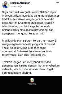 Status Facebook berbela sungkawa dari Nurdin Abdullah sekaligus berpesan untuk tidak menebar teror.
