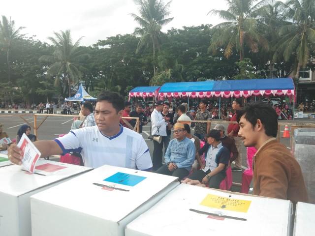 Simulasi Sispamkota dalam rangka pengamanan Pemilu 2019 di Bantaeng.