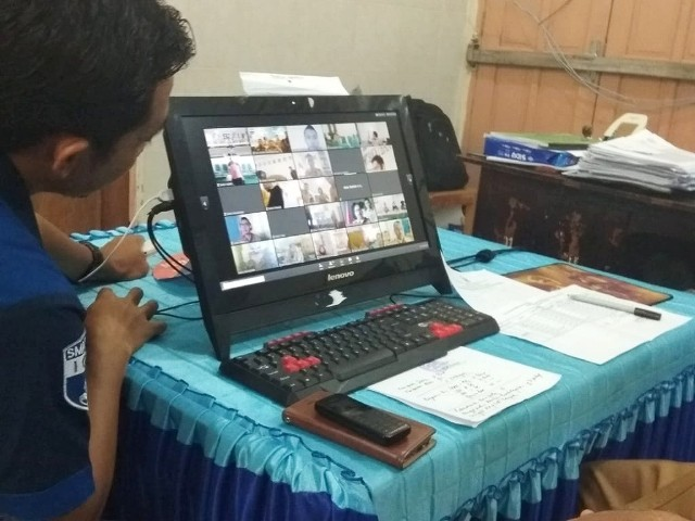 Video Conference terkait UNBK 2019 berlangsung di SMA Negeri 4 Bantaeng.