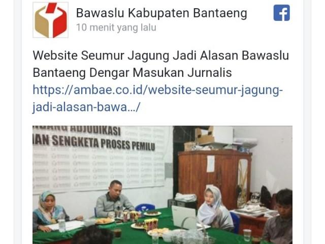 Tampilan Website Bawaslu Kabupaten Bantaeng.