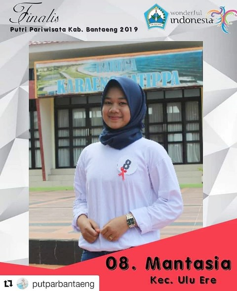 Mantasia salah seorang Finalis Puteri Pariwisata Kabupaten Bantaeng tahun 2019.