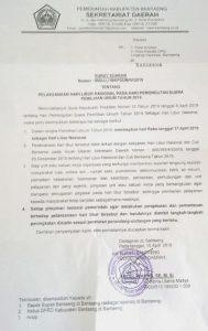 Surat Edaran Hari Libur di Kabupaten Bantaeng tanggal 17 April 2019.
