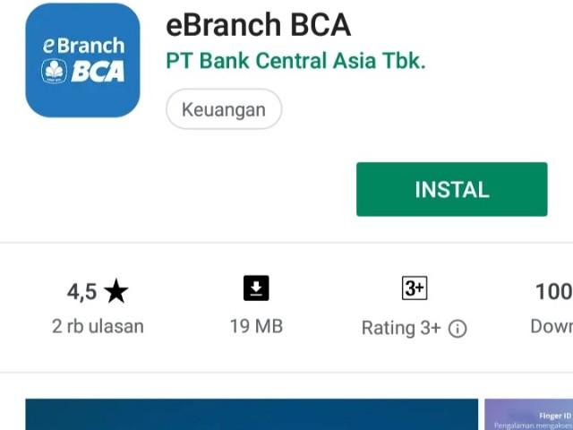 Tampilan Aplikasi eBranch BCA.
