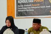 Naskah Akademik Ranperda KLA dilakukan Konsultasi Publik.