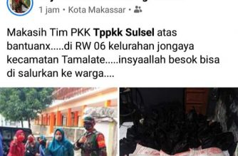 Balasan atas bantuan sembako PKK SulSel.