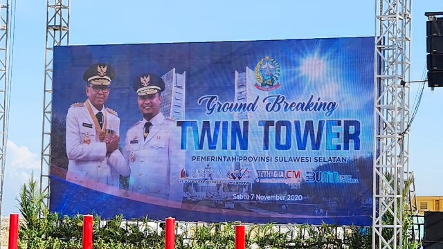 Gubernur SulSel ground breaking Twin Tower.
